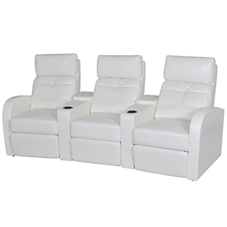 Bon Festnight 3 Seater Home Cinema Recliner Reclining Sofa With Cup Holder And  Footrest, Wooden