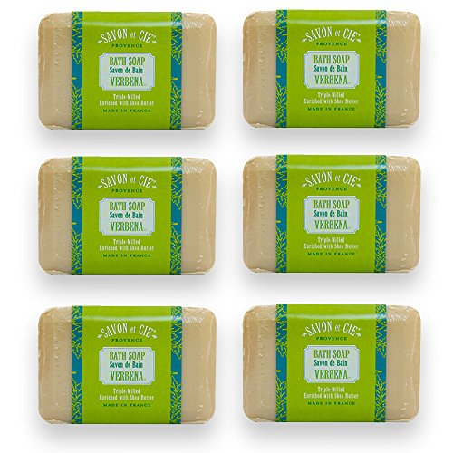 Savon et Cie Triple Milled Soap, Verbena enriched with Organic Shea Butter, 100% Pure Vegetable Based, Natural French Bath Soap, Energizing, Refreshing, Paraben Free 6 x 7 oz (200g) Value - Shea Refreshing Verbena Butter