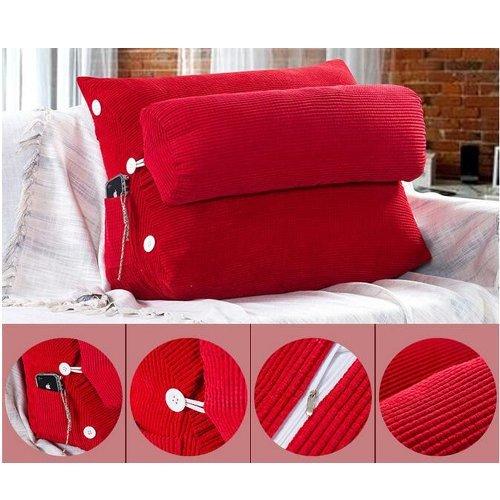 Kondrao Set von 2 Kord Baumwolle Gemütlich Standard Rückenstütze Kissen Lesekissen für Bett Sofa, Keil-Kissen mit Nackenkissen(24