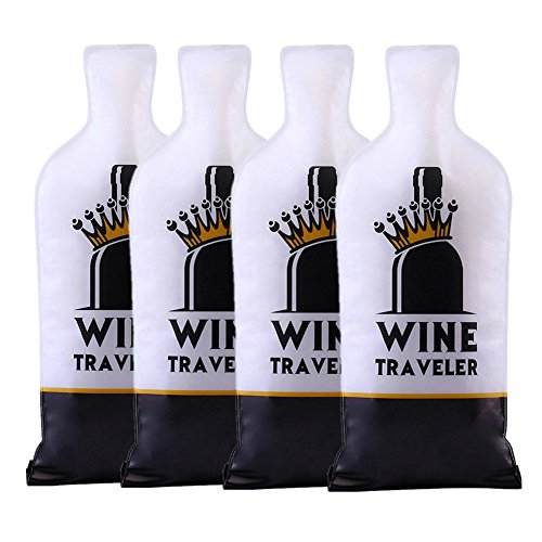Selric Wine Traveler, (4 Pack)Reusable & Leakproof Wine Bottle Protector Bag, Double Zip-locks, Double-Layer Bubbles & Tough PVC Outer, Best Choice for Checked-in - Mean Day Air Shipping Next