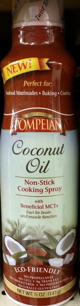 Pompeian Coconut Oil Non-Stick Cooking Spray 5 Oz (Pack of 2)