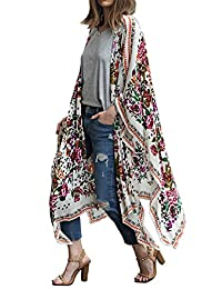 Floral Seasons Women's Summer Long Floral Printed Kimono Cardigan Beach Cover Up