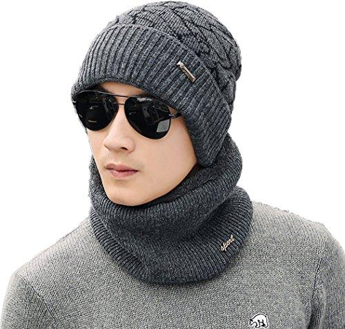 Ababalaya Men's Winter Warm Fleece Knit Beanie&Neck Scarf Wi