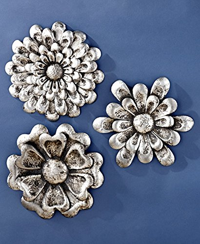 Amazon.com: Set of 3 Elegant Rustic Metal Wall Flowers Decor (pewter ...