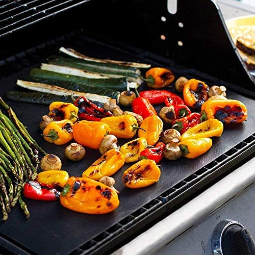 Lyeiaa 4 Pièces Tapis de Barbecue Tapis de Cuisson Grill Mat 40x33 CM, Tapis de Grill Antiadhésif BBQ Feuilles de Cuisson Réutilisable et Résistant pour Barbecue