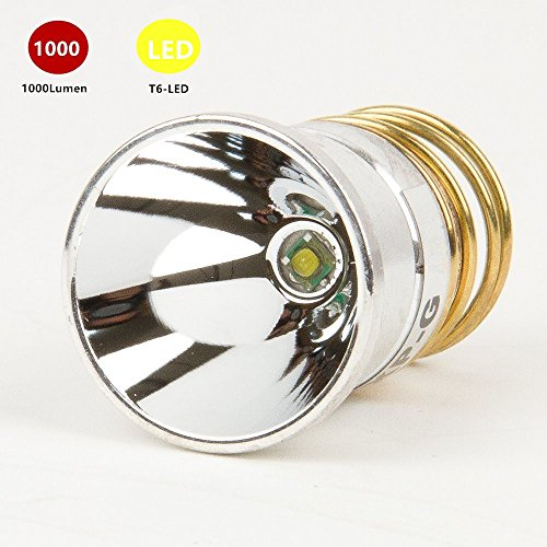 WMlife Flashlight Bulb LED 1000 Lumens Smooth Reflector T6 Single Mode 3.0-18V Drop-in - P60 Design: Ultrafire,Surefire, Hugsby , C2 G2 Z2 9P G3 S3 D2 Ultrafire 501B 502B by WMlife®