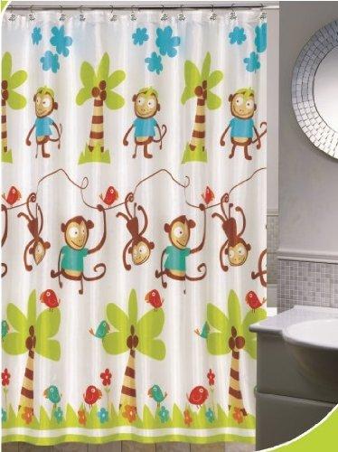 Amazon.com: Daniels Bath and Beyond Monkey Jump Shower Curtain Set ...