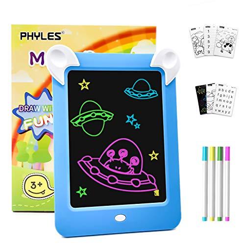 PHYLES Tableau Magique , Ardoise Magique pour Enfant , Tableau de Dessin Multifonction avec 8 Effets Lumineux