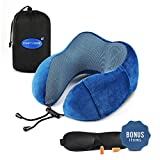 Ergonomic Travel Neck Pillow Set | Flight Kit Includes Eye Mask, Earplugs & Carry Bag | Memory Foam U Cushion Head/Neck Support | Anti-Sweat Cover with Magnetic Therapy Fabric | Cellphone Side Pocket