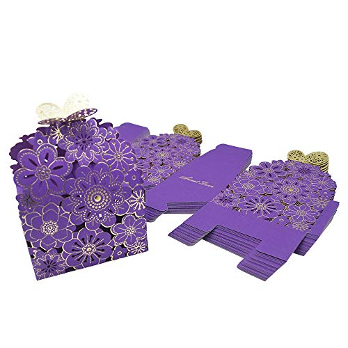 - Kslong 50Pcs/Set Flower Butterfly Hollow Candy Box Cookie Gift Boxes Romantic Wedding Favors Cute Chocolate Box for Wedding Bridal Birthday Party Supplies (Purple, S)