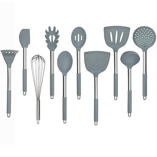 Juego de utensilios de cocina de silicona, núcleo de nailon y mango de acero inoxidable con silicona para utensilios de cocina antiadherentes, 9 ...