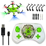 Mokasi® 6 Propellers Mini Pocket Drone, 2.4Ghz 4CH 6-Axis Gyro RC Micro Quadcopter with 3D Flip, Headless Mode,Nano Copters RTF Mode 2 Green