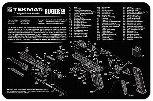 Ultimate Arms Gear Gunsmith & Armorer's Cleaning Work Tool Bench Gun Mat For Ruger SR 9 ( SR 40 ) Pistol Handgun - Large Exploded View Schematics Diagram of Revolver and Parts List