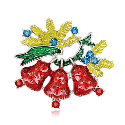 Creative Brooch Pin Brooch Christmas series jewelry alloy diamond Christmas bells brooch European style pin 2-piece set Badge Pin Lapel Pin (Color : A)