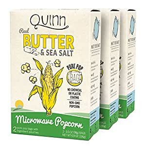 Quinn Snacks Microwave Popcorn - Made with Non-GMO Corn, Real Butter & Sea Salt, 6.9 Ounce (3 Count)