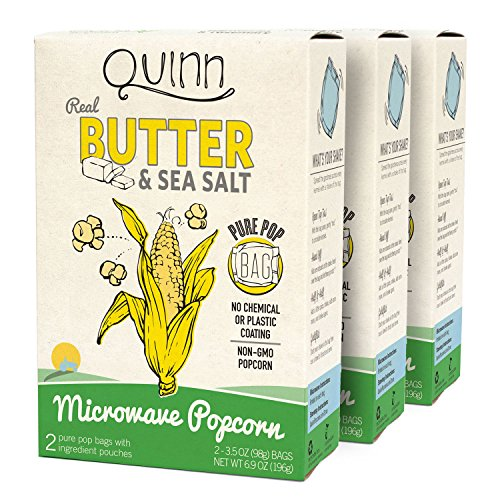 Quinn Popcorn Microwave Popcorn - Made with Organic Non-GMO Corn - Great Snack Food for Movie Night {Butter & Sea Salt, 3 Boxes} (Low Sodium Popcorn compare prices)