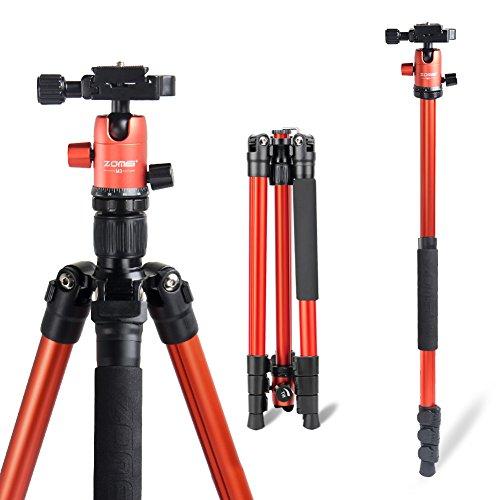 ZOMEI Camera Tripod, 62.5″ Lightweight Alluminum Alloy DSLR Tripod Ball Head Travel Tripod, Detachable Monopod, for Canon Nikon DSLR DV Scope Camcorder Projector,(Load: 33Lbs, Weight: 2.9Lbs) Orange