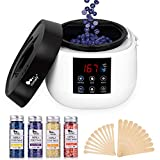 Wax Warmer, Hair Removal Waxing Kit with LED Screen Display, Himaly Electric Wax Pot Heater with 4 Flavors Hard Wax Beans and 20 Applicator Sticks for Legs, Body, Face, Bikini Area (At home Waxing)