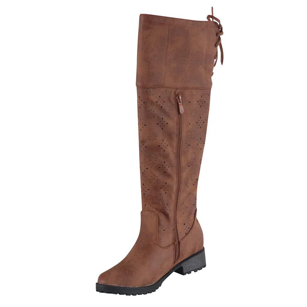 Kauneus♕ High Boots for Women Lace up Vintage Wide Calf Cutout Boots Side Zipper Low Heel Retro Mid-Calf Boots Brown by Kauneus Fashion Shoes