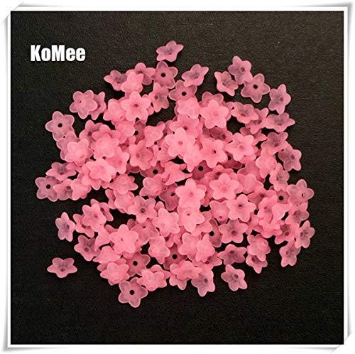 Calvas 10mm 1000pcs Frosted Cobalt Acrylic Lucite Flower Beads - (Color: Pink) ()