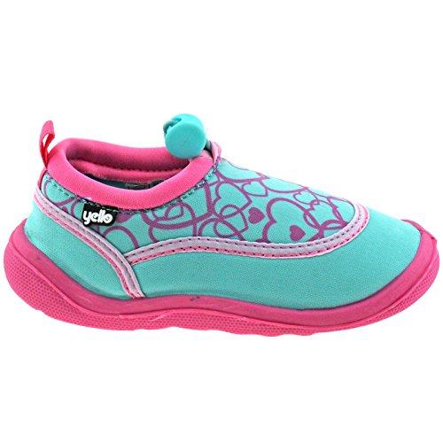 Yello Girls Infants Pink Turquoise Hearts Aqua Socks Beach Shoes FW930-Turquoise-UK 8 (EU 25/26)
