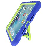Gumdrop Cases Hideaway Stand for Apple iPad Mini 4 (Late 2015) A1538 A1550 Rugged Tablet Case Shock Absorbing Cover, Royal Blue / Lime