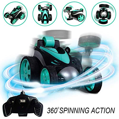 - RC Vehicle Four Wheel Stunt Car, Remote Control Car, 360 Degree Rolling Rotating Rotation, Safe & Durable, Birthday Gift for Kids, Boys & Girls Green
