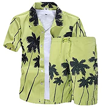 Mens Floral Button Down Shirt and Shorts 2 Piece Set Outfits Green XS