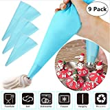 9 Pack Silicone Pastry Bags, Reusable 3 Sizes (12''+14''+16'') Icing Piping Bags Baking Cookie Cake Decorating Bags, DIY Cake Decorating Tool