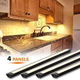 MYPLUS LED Under Cabinet Lighting, 4 pcs 12 inches Extremely Soft Kitchen Lights 12W, 840lm With 10 Levels Dimmable LED Under Counter Lights, for Kitchen Cabinet,Counter,Workbench etc - 3000K