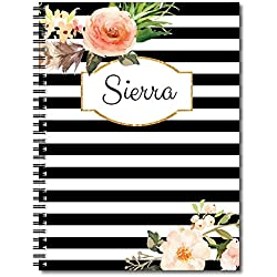 Classic Floral Personalized Floral and Stripe Spiral Notebook / Journal, 120 College Ruled or Checklist Pages, durable laminated cover, and wire-o spiral. 8.5x11 | 5.5x8.5 | Made in the USA