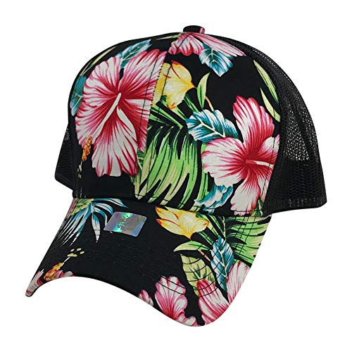 Prfcto Lifestyle Floral Print Trucker Baseball hat - Hawaiian Flower Baseball Caps Mesh Back (Black Floral)