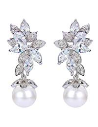 Ever Faith Silver-Tone CZ White Simulated Pearl Gorgeous Marquise Shape Leaves Drop Earrings Clear N07546-1
