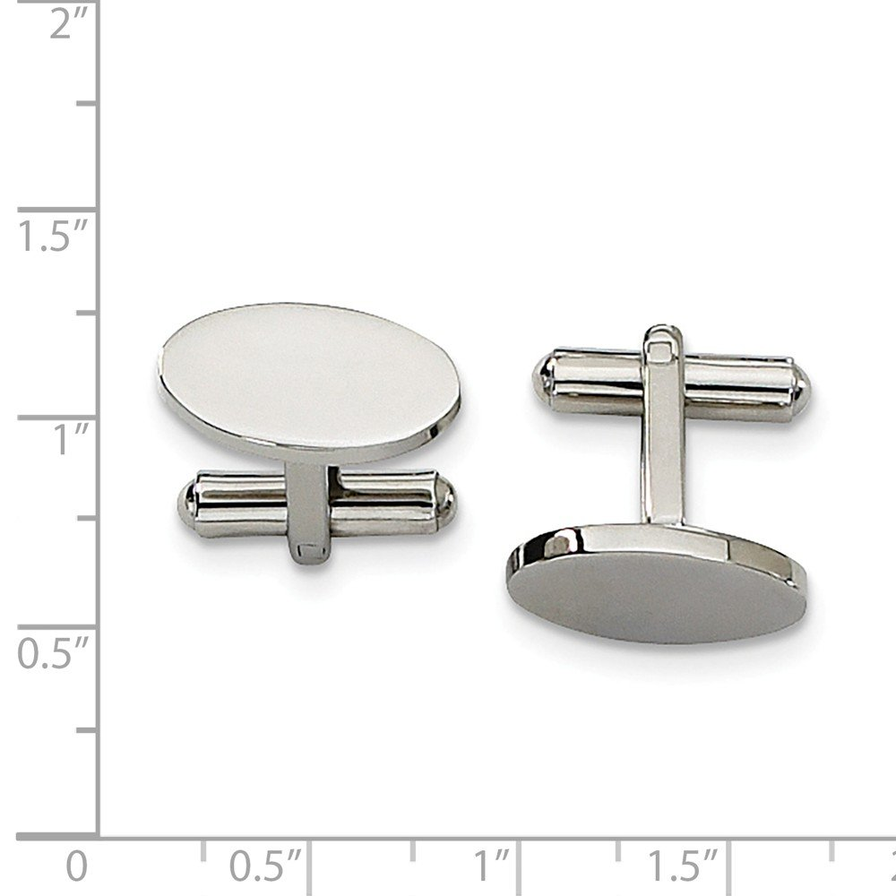 8 x 18mm Black Bow Jewelry Mens Stainless Steel Polished Oval Cuff Links