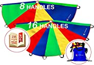 Play Parachute for Kids 12 ft 16 Dirt Resistant Handles Rainbow Parachute Kids Party Games Outdoor Toys Childr