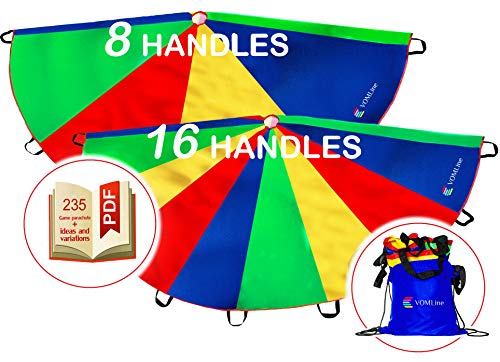 VOMLine Play Parachute 12 ft for Kids with 8 16
