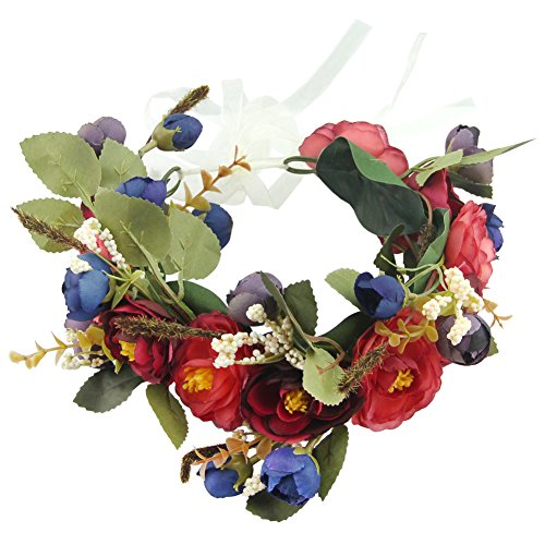 Hawaiian Floral Bands - QtGirl Hawaiian Floral Beach Headband Flower Wedding Hairband Halo Floral Crown Garland Wedding Festival Headpiece for Women Girls