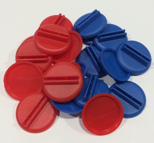 Plastic Card Stand (Red & Blue) to Hold up Playing Cards or Cardboard Marker Cut-outs: Set of 20 Red & Blue Color Round Board Game Playing Pieces (School Classroom Supplies, Arts & Crafts Projects)