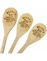 Custom Engraved 14in Bake Off Wood Spoon Prizes Set Of 3