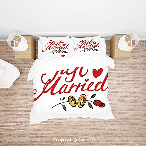 (PUTIEN 4 Pieces (1 Duvet Cover +1 Sheet+ 2 Pillow Shams) Home Bedding Sets Duvet Cover Sets,Just Married Hand Writing in Red and Rose with Wedding Rings,Soft Microfiber Duvet Cover Set. )