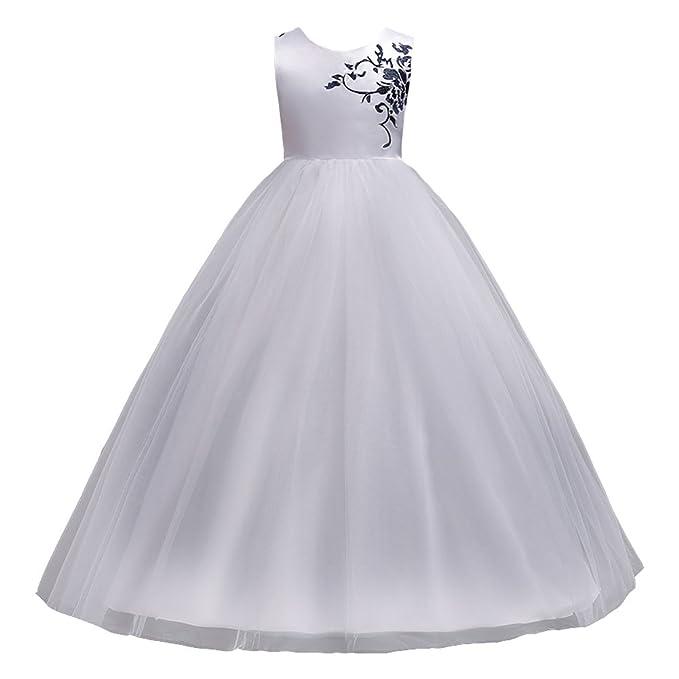 LSERVER-Vestido de gasa para las niñas en primavera en las fiestas Blanco