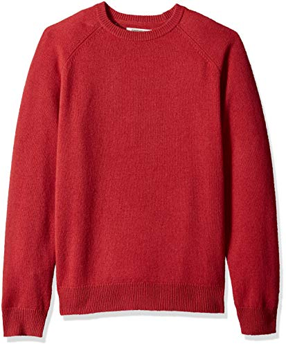 Goodthreads Men's Lambswool Crewneck Sweater, Washed red, Medium ()