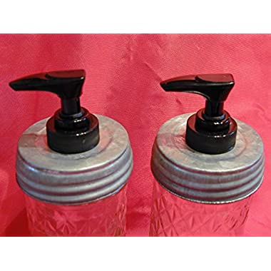 Galvanized Lid with Black Pump Double Pack - Mason Jar Lotion/Soap dispenser