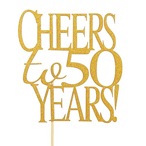 Cheers to 50 Years Cake Topper -Gold Glitter Hello 50 - Happy 50 Birthday Cake Topper 50th Birthday/Wedding Anniversary Party -