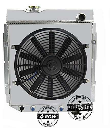 Primecooling 4 Row Aluminum Radiator +Fan (14 Inches Dia.) w/Shroud for Mustang Falcon Comet Ranchero 4.3L,4.7L V8 1962-66