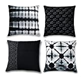 Folkulture Decorative Throw Pillow Covers for Couch, Sofa, or Bed Bohemian Set of 4 18x18 inch, Modern Quality 100% Cotton Geometric and Tie Dye Stripes Designer Cushion Case