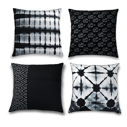 Folkulture Decorative Throw Pillow Covers or Bohemian Cushion Covers for Couch, Sofa, Bedroom Boho Set of 4 18X18 for Home or Farmhouse Decor, Black and White from Folkulture