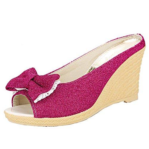 Femme de Mode Toe Slipper Compensée Rose TAOFFEN Archet Rouge Chaussures Sandales avec Peep Plage 58Zndwf