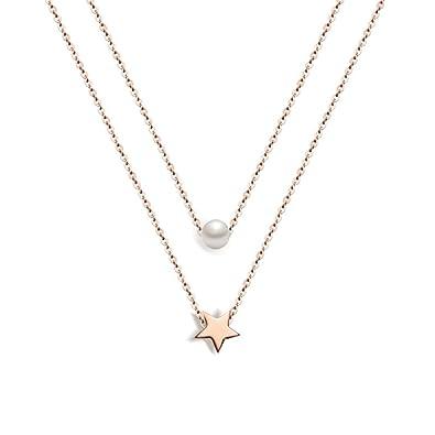 Cadena de collar de acero inoxidable para mujer - Muting 2018 Estrella de cinco puntas y colgante de perlas Cadena de charm de acero inoxidable de oro ...