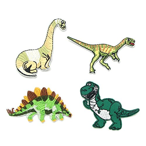 Jurassic World Kids 4 Pieces Dinosaurs Movie Park Logo Extinct Fossil Embroidered Sew/Iron-on Badge Patches Appliques Application